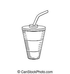 Hand drawn drink in paper cup illustration. Doodle art. Food icon.