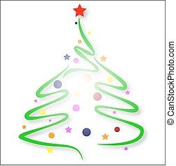 hand-drawn, drzewo, boże narodzenie