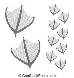 hand drawn duck steps. Vector illustration