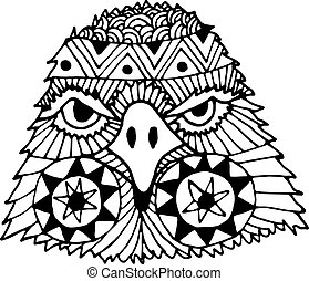 Hand drawn eagle head painted doodle, zentangle