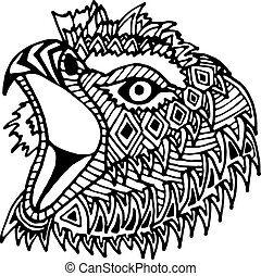 Hand drawn eagle head painted zentangl and doodle