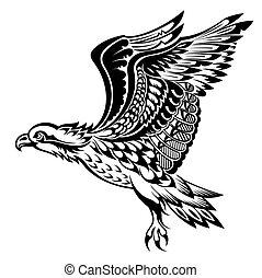 Hand Drawn Eagle. Tattoo bird