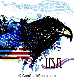 Hand drawn eagle with American flag. Symbol of USA.eps