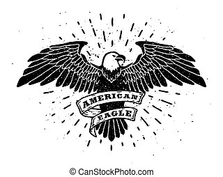 Hand Drawn Eagle with ribbon for text.