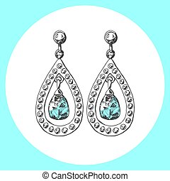 Hand drawn earrings. Icon in sketch style. Vector illustration.