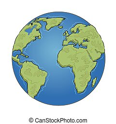Hand drawn earth on white background