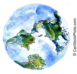 Hand Drawn Earth - Stylized watercolor painting of the Earth...