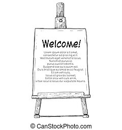 Hand drawn easel with a canvas. Vector illustration of a sketch style.