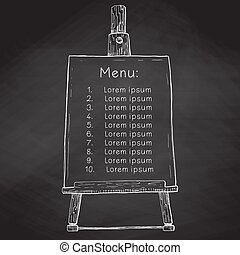 Hand drawn easel with a canvas with space to your text. Easel on a black chalkboard. Vector illustration of a sketch style.