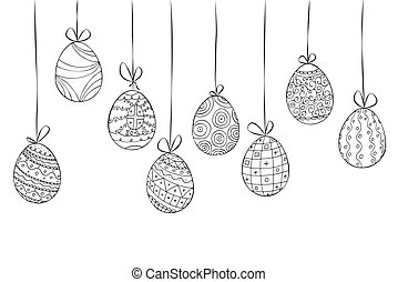 Hand drawn easter card of hanging eggs. Doodle style