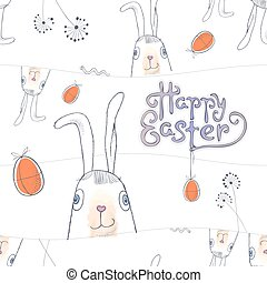 Hand drawn Easter card vector