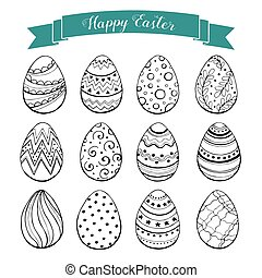 Hand drawn Easter eggs collection. Doodle eggs with zentangle ornaments black on white. Set of whimsical Esater eggs in sketch style.