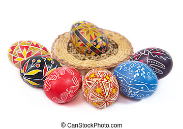 Hand-drawn Easter eggs. Isolated on white