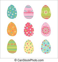 Hand drawn easter eggs set.