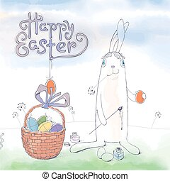 Hand drawn Easter greeting card in