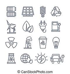 Hand Drawn Eco Energy Icons Set - Hand Drawn Eco Energy...