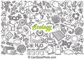 Hand drawn Ecology doodle set with lettering