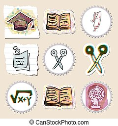 Hand drawn education emblems set. Isolated