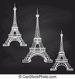 Eiffel towers set on chalkboard