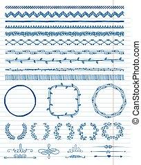 hand-drawn, elemente, design, seamless, ränder