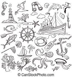 hand-drawn, elementi, di, marino, tema