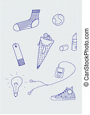 hand-drawn, elementi