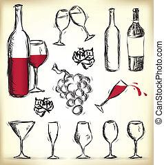 hand-drawn, elementos, diseño, vino