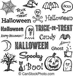 hand-drawn, elementos, halloween