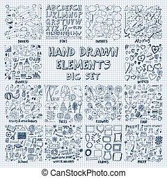 Hand Drawn Elements Big Set on Copybook Sheet