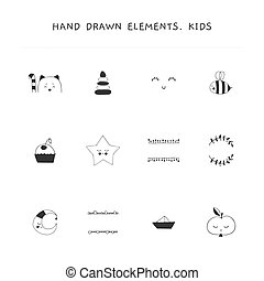 Hand drawn elements for children related businesses. Vector set of illustrations.