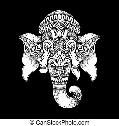 Hand drawn elephant head tribal style. Hindu Lord Ganesha vector illustration. T-shirt design