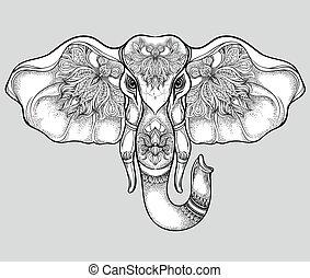Hand drawn elephant head with manda