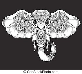 Hand drawn elephant head with mandala pattern on black. Vector illustration in line art style. T-shirt or tattoo design