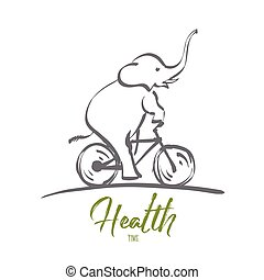 Hand drawn elephant riding bicycle with lettering