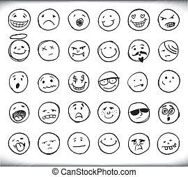 Hand drawn emoticons - Set of thirty hand drawn emoticons or...