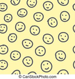 Hand drawn emoticons. Seamless pattern.