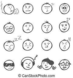 Hand drawn emoticons smileys each with a different facial expression and emotion