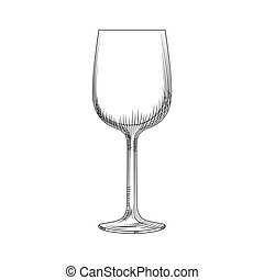 Hand drawn empty wine glass sketch. illustration isolated
