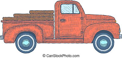 Hand drawn Engraved Retro Vintage Pickup Truck. Vector...