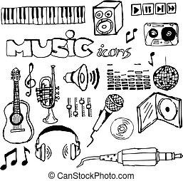 hand-drawn, ensemble, musique, icônes