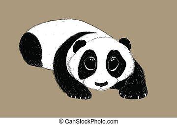 Hand-drawn EPS 8 Vector illustration of cute Panda 4