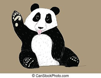 Hand-drawn EPS 8 Vector illustration of Panda with tongue out
