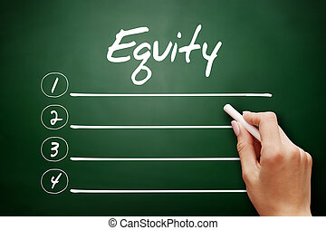 Hand drawn Equity, business concept on blackboard