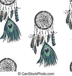 Hand drawn ethnic dreamcatcher seamless pattern.