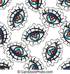 hand drawn eye doodles sticker seamless pattern