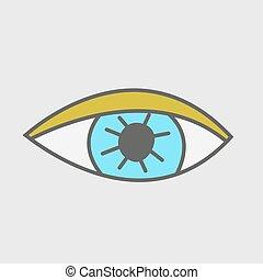 Hand drawn eye. Stickers patch.