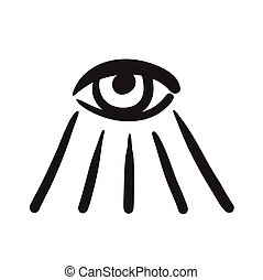 Hand drawn eye symbol vector icon illustration