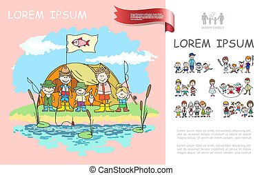 Hand Drawn Family Camping Template