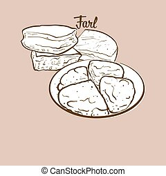 Hand-drawn Farl bread illustration. Flatbread, usually known...
