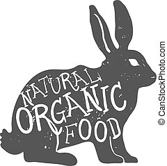 Hand Drawn Farm Animal Rabbit. Natural Organic Food Lettering. Vector